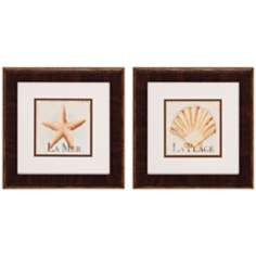 "Set of 2 La Mer and La Plage 13"" Seashell Wall Art"