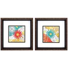 "Set of 2 Lyon Floral I/II 12"" Square Framed Wall Art"