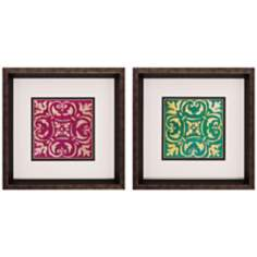 "Set of 2 Mosaic Tile I/II 12"" Square Framed Wall Art"