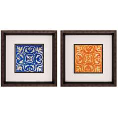 "Set of 2 Mosaic Tile III/IV 12"" Square Framed Wall Art"