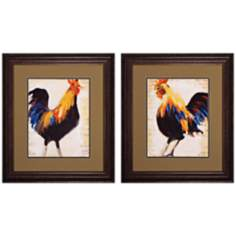 "Set of 2 Morning Glory I/II 23"" High Rooster Wall Art"