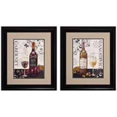 "Set of 2 Wine Swirl I/II 23"" High Framed Wall Art"