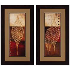 "Set of 2 Fossil Leaves I/II 27"" High Leaf Wall Art"