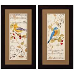"Set of 2 Perch on Note I/II 27"" High Musical Bird Wall Art"