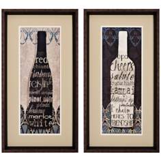 "Set of 2 Wine Collect I/II 26"" High Framed Wall Art"