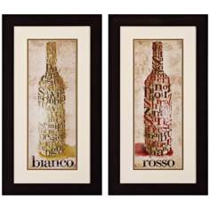 "Set of 2 Rosso Blanco 27"" High Wine Wall Art"