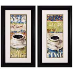 "Set of 2 Wake Up I/II 28"" High Coffee Wall Art"