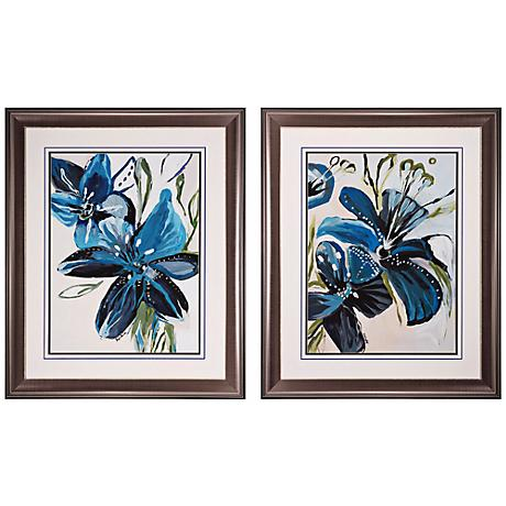 "Set of 2 Flowers Azure I/II 35"" High Floral Wall Art"