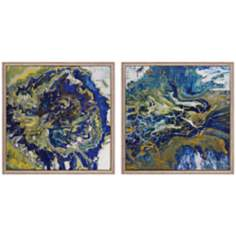 "Set of 2 Tropical Storm I/II 13"" Square Abstract Wall Art"
