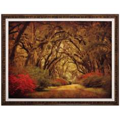 "Road with Oaks 36"" Wide Framed Wall Art"