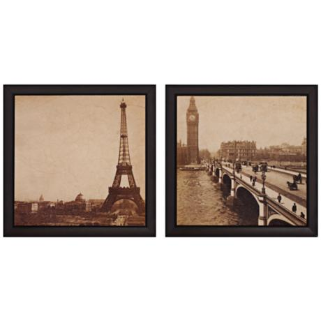 "Set of 2 Paris/London 14"" Square Landmark Wall Art"
