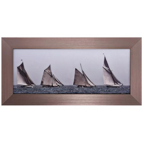 "First Sailboats 35"" Wide Nautical Wall Art"