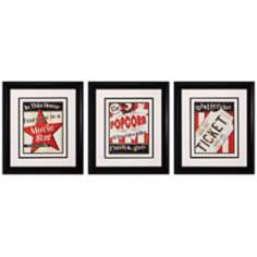 "Set of 3 Popcorn/Ticket/Star 25"" High Movie Wall Art"