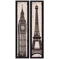 "Set of 2 Eiffel/Big Ben 35"" High Landmark Wall Art"