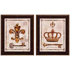 "Set of 2 Couronne/Fleur 17"" High French Wall Art"