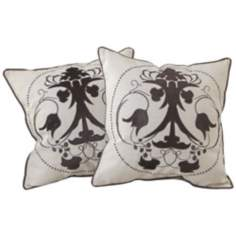 "Set of 2 Black Embroidered 18"" Square Throw Pillows"
