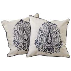 "Set of 2 Blue Embroidered 18"" Square Throw Pillows"