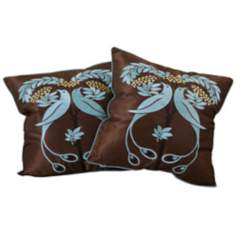 "Set of 2 Blue Bird Embroidered 18"" Square Throw Pillows"