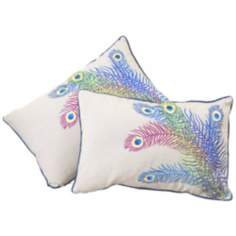 Set of 2 Embroidered Peacock Feathers 12x18 Throw Pillows