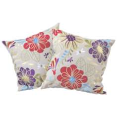 "Set of 2 Tropical Embroidered Flowers 18"" Throw Pillows"