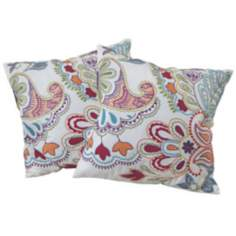 "Set of 2 Multi-Color Floral 18"" Embroidered Throw Pillows"