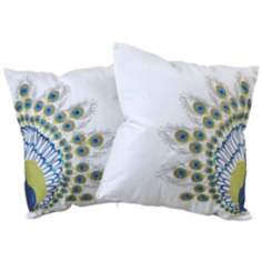 "Set of 2 Peafowl Tail 18"" Embroidered Throw Pillows"