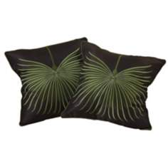 "Set of 2 Leaf 18"" Square Embroidered Throw Pillows"