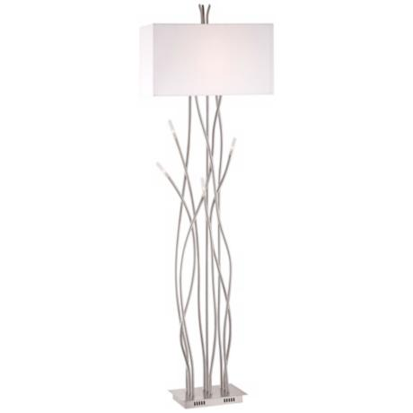 Possini Euro Vevina Wavy Tendril Satin Nickel Floor Lamp