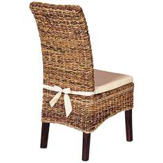 Set of 2 Grass Roots Banana Leaf Dining Chairs with Cushions