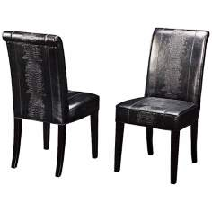Horizon Set of 2 Black Croc Dining Chairs