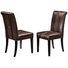 Horizon Set of 2 Brown Croc Dining Chairs