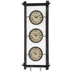 "Uttermost Brunswick 26"" high 3-Dial Wall Clock"