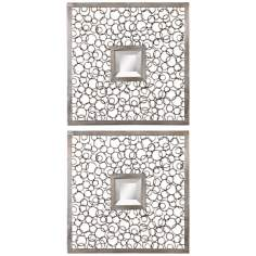 "Set of 2 Uttermost Colusa Squares 20"" Wide Wall Mirrors"