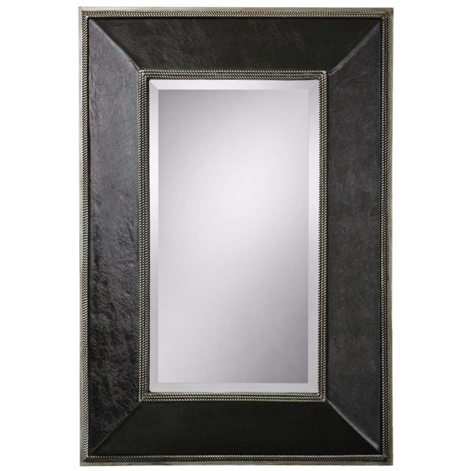 "Uttermost Dorran 41"" High Leather Rectangular Wall Mirror   #X8267"