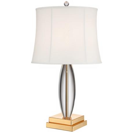 Ratanda Crystal Teardrop Brass Table Lamp