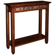 Rustic Oak and Slate Hall Stand Accent Table