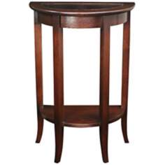 Chocolate Oak Demilune Accent Table