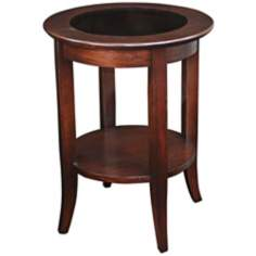 Leick Furniture Chocolate Oak Glass Top Round End Table