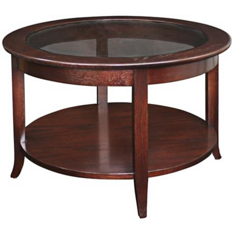 Leick Furniture Solid Wood Glass Top Round Coffee Table