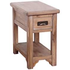 Blanched Oak Wood Chairside Small End Table