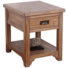 Blanched Oak Wood Storage End Table