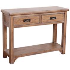 Blanched Oak Wood Storage Console Table