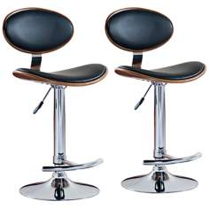 Leick Furniture Set of 2 Oval Adjustable Chrome Bar Stools