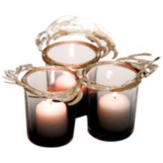 Set of 3 Costa Brava Gray Glass Votive Holders