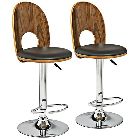 Leick Adjustable Espresso Faux Leather Barstool Set of 2
