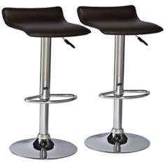Leick Furniture Set of 2 Brown Adjustable Bar Stools