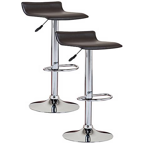 Leick Furniture Set of 2 Black Adjustable Bar Stools