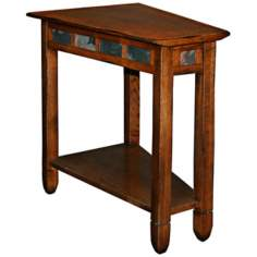 Rustic Oak and Slate Recliner Wedge End Table