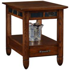 Rustic Oak and Slate Storage End Table