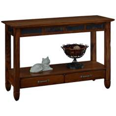 Rustic Oak and Slate Storage Console Table